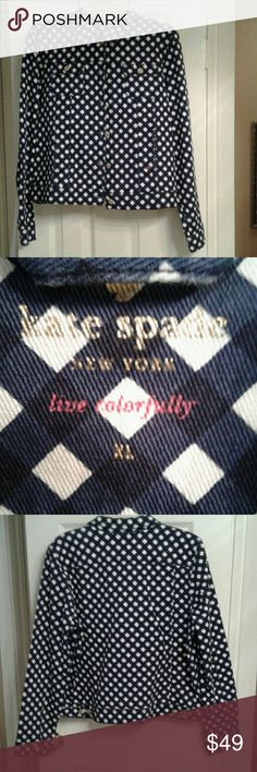 Kate Spade gingham denim Denim jacket with gold KS buttons .  Jacket is navy and white with hot pink stitching.  Jacket is in excellent shape.  Wore once with white skirt, but you can style it when you want to accent your look. kate spade Jackets & Coats Jean Jackets