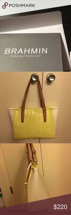 Brahmin medium Arno Limelight la Scalia color block genuine leather.  Only used ONCE!  Essentially brand new. Brahmin Bags Shoulder Bags