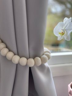 White Ivory Tieback Curtain Pom Pom Curtain Tie Backs | Etsy Living Room Decor Etsy, Living Room Decor Curtains, Nursery Curtains, Pom Pom Curtains, Cotton Curtains, Pom Poms, Curtain Holder, Curtain Tie Backs, Macrame Curtain