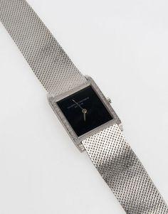 DamenarmbanduhrGehäuse und Armband Weißgold 750. Schwarzes Zifferblatt. Mechanisches Werk mit Hand — Taschen-/Armbanduhren