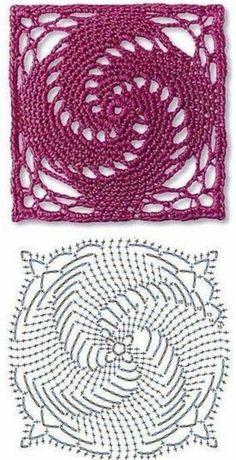 21 trendy ideas for crochet stitches diagram charts granny squares Motif Mandala Crochet, Crochet Doily Diagram, Crochet Motif Patterns, Crochet Blocks, Granny Square Crochet Pattern, Crochet Chart, Crochet Squares, Crochet Basics, Thread Crochet