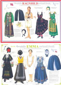 Norwegian Paper Dolls RAGNHILD and EMMA Traditional Costumes