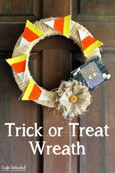 Trick or Treat Halloween Craft Wreath - CraftsUnleashed.com