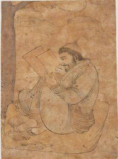Seated Man Painting or Writing Date: first half 17th century Geography: Iran, Isfahan Medium: Ink and opaque watercolor on paper Dimensions: Page: H. 4 7/16 in. (11.2 cm) W. 3 3/8 in. (8.6 cm) Mat: H. 19 1/4 in. (48.9 cm) W. 14 1/4 in. (36.2 cm) Metropolitan Museum of Art 1976.183
