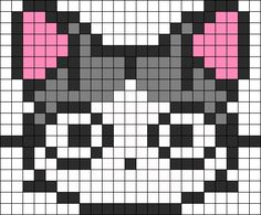 Kandi Patterns for Kandi Cuffs - Characters Pony Bead Patterns Fuse Bead Patterns, Kandi Patterns, Perler Patterns, Beading Patterns, Perler Bead Art, Perler Beads, Pixel Cat, Chi Le Chat, Cross Stitching