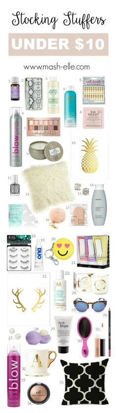 Over 30 stocking stuffer ideas for her ALL UNDER $10!!   Fashion and beauty blogger Mash Elle shares a list of affordable ride or die Christmas gifts all under $10 for you daughter, mother, aunt, cousin, friend, colleague etc! From drugstore makeup palettes to gold foil art, anthropologie gold initial mugs, sparkling earrings and more!