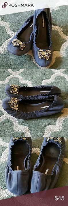 VERA WANG LAVENDER Jeweled Ballet Flats Sz 11 Blue suedes leather, excellent condition! Vera Wang Lavender Label Shoes Flats & Loafers