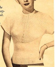 Items similar to Wallis- style- elegant yoked sweater - Australian knitting ePattern on Etsy Chevron Blouse, Australian Vintage, 40s Fashion, Knitting Patterns, Crochet Patterns, Sweater Design, Wallis, Vintage Knitting, Pattern Books
