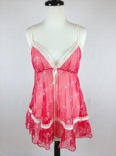 Victorias Secret Nightie Babydoll Sheer Flowers Deep V Neck Lace Teddy Womens S | eBay