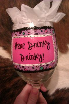 My most recent hand painted wine glass!