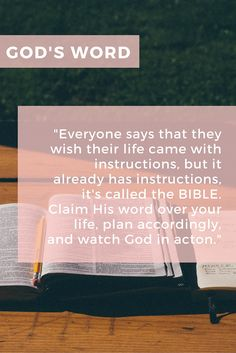 Everyone says that they wish their life came with instructions, but it already has instructions, it's called the BIBLE.