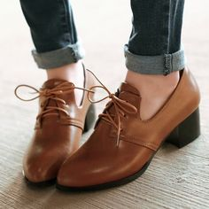Olga  Oxord Lace-up PU Leather Shoe - Brown - White Finch Outfitters - 1