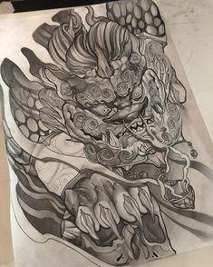 Officially a thigh piece! Japanese Dragon Tattoos, Japanese Tattoo Art, Foo Dog Tattoo Design, Tattoo Designs, Cover Up Tattoos, Body Art Tattoos, Japanese Foo Dog, Knee Tattoo, Fu Dog