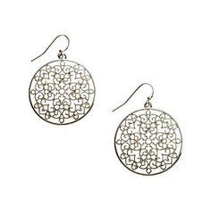 Relativity® Silvertone Round Open Filigree Drop Earrings