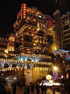 The Hongyadong stilted house in Chongqing city, China.