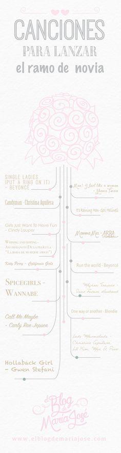 Canciones para lanzar el ramo de novia #bodas #ElBlogdeMaríaJosé #músicaboda #ramonovia: