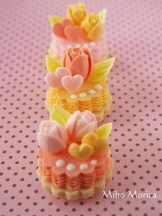 the tiny cakes of soap carving.