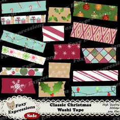 Each digital paper packs (12 sheets) are $1.  See more at www.FoxyExpressions.com Classic Christmas in shades of green, red and gold with #snowflakes, candy canes, #ornaments, #lights and more for personal or commercial use  This pack is great for scrapbook... #sale #foxydesign #foxyexpress #vintage