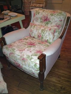 Chair I acquired from the previous owner of my 1926 home. I recovered to my taste. Two fabrics create a soft look. It is my homage to Betty Jean Thrash who lived in the house from the early 1960s till I bought it in 2010.