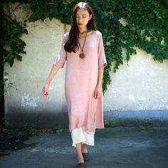 Women  cotton linen summer round two-pieces collar dress
