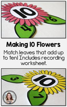 is a great math center to use in your classroom during the spring! Students match number pairs that equal 10. This product includes brightly colored, fun flowers with the number 10 on them and green leaves with different numbers printed on them. Students can use two leaves that add up to 10 and pair them together. When set up, each flower should resemble a number bond. Keep students accountable for their work by adding the included worksheet to your lesson.