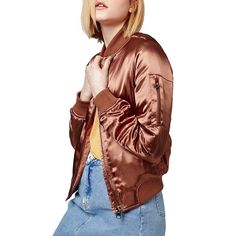 Topshop 'MA1' Shiny Bomber Jacket ($115) ❤ liked on Polyvore featuring outerwear, jackets, rust, shiny jacket, blouson jacket, stand collar jacket, brown military jacket and flight jacket