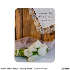 Rustic White Tulips Country Wedding Save the Date