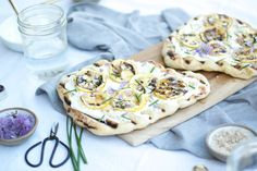 Grilled Flatbreads with Charred Lemon, Ricotta, + Chive Blossoms — All Purpose Flour Child Chive Blossom, Grilled Pizza, Favourite Pizza, Ricotta, Vegetable Pizza, Camembert Cheese, Grilling, Lemon, Blossoms