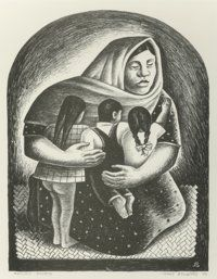 "Gerald Williamson ""Jerry"" Bywaters (American, 1906-1989) Mexican Mother, 1936 Lithograph 15-1/2 x 12 inches (3..."