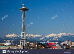 Space Needle Seattle Center And Olympic Mountains In Winter ...
