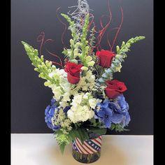 Fourth of July Floral Arrangement for Battle of the Blooms at Matlack Florist, Ivon's Design  #RedWhiteandBlue