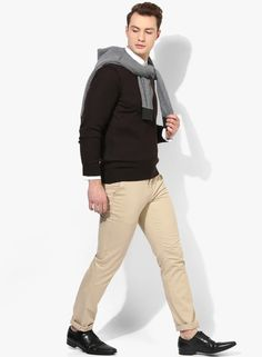 a1e99ce60bd Buy Louis Philippe Brown Solid V Neck Sweater Online - 3803886 - Jabong