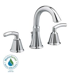 American Standard Tropic 8 inch Widespread 2-Handle Mid-Arc Bathroom Faucet in Chrome with Metal Speed Connect Pop-Up Drain 249901