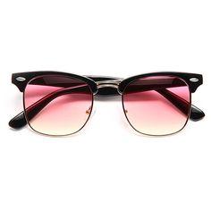 'Peyton' Unisex Split Tint Clubmaster Sunglasses - Pink/Yellow - 5619-5