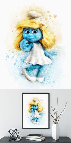 The Smurfs Print, Smurfette print, Nursery Decor, instant download, Watercolor Smurf, The Smurfs Kids Room Wall Art, Smurfs Printable