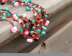 Rosa, turchese e cioccolato - versatile Maglia collana / braccialetto - rusteam ohtteam - Free Shipping Worldwide