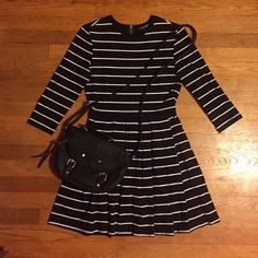 Stripped 3/4 sleeve dress. Black and white stripped 3/4 sleeve dress. Pleated A line skirt. I'm always willing to negotiate, so send an offer my way. Or bundle and save some moolah. Forever 21 Dresses Midi