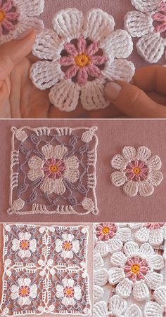 How to Crochet Flower, Make a Granny Square and Join Ways To Join Granny Squares – How ToMake a beautiful mitered granny square dishcloth!Crochet Granny Square With 4 Petals FlowerSunburst Flower Granny Square Free Crochet Pattern Crochet Flower Squares, Crochet Motifs, Crochet Blocks, Granny Square Crochet Pattern, Crochet Flowers, Crochet Stitches, Crochet Patterns, Flower Granny Square, Crochet Ideas