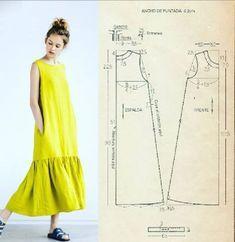 Tunic Sewing Patterns, Clothing Patterns, Dress Patterns, Sewing Blouses, Fashion Sewing, Diy Fashion, Fashion Outfits, Sewing Clothes Women, Diy Clothing