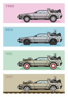 Back to the Future - Delorean x 4 Art Print