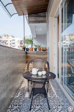 This is the Perfect Blend of Styles New home design in Dwarka_guest room balcony Balcony Tiles, Balcony Bar, Balcony Flooring, Balcony Garden, Balcony Shade, Wooden Floor Tiles, Laminate Wall, Small Balcony Design, Zen Space