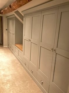 Bedroom Furniture- Fitted bespoke Wardrobes and drawers - Modern Attic Bedroom Closets, Attic Bedroom Storage, Attic Master Bedroom, Attic Bedroom Designs, Upstairs Bedroom, Attic Rooms, Closet Bedroom, Home Bedroom, Eaves Bedroom