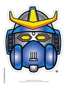 This blue robot has yellow horns, a gas mask, and yellow eyes. His samurai appearance means that this robot is ready for war. Free to download and print
