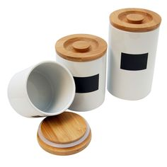 Both attractive and functional, this white ceramic canister set from Le Chef looks great and offers an airtight location for storing any kind of dry good. The set includes three canisters that are three different sizes: 36, 26, and 20 ounces.