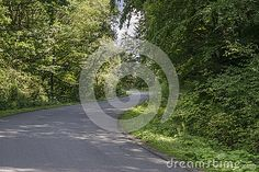 Country road in the forest in small village Rożnów , Poland. Malopolska near…