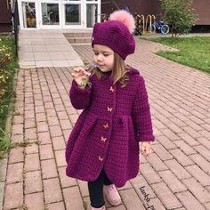 Crocheted cardigan for children «Knitwear, baby knitting, knitting models … Crochet Baby Cardigan, Crochet Coat, Crochet Baby Clothes, Knitted Coat, Love Knitting, Knitting For Kids, Baby Knitting Patterns, Crochet Pattern, Crochet Girls