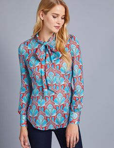 ed8072a24750f Women s Blue  amp  Red Design Fitted Shirt - Pussy Bow Red Design