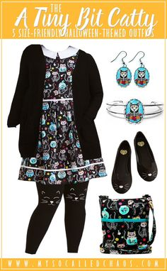Feeling a little catty? How about sugar-skull cats? Sooooooo cute, and this outfit is size-friendly and adorable! Meow!   5 Size-Friendly Halloween-Inspired Outfits http://mysocalledchaos.com/2017/10/5-size-friendly-halloween-inspired-outfits.html  #Cats #SugarSkull #SugarSkullCats #Halloween #plussize #sizefriendly #handmade #Etsy #ModCloth #Torrid #HalloweenOutfits #HalloweenFashion #OOTD #Fashion #DiadelosMuertos