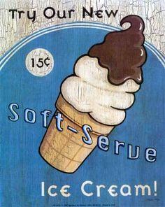 Soft Serve Ice Cream poster for ice cream parlor Ice Cream Poster, Ice Cream Art, Ice Cream Parlor, Vintage Advertisements, Vintage Ads, Vintage Posters, Retro Posters, Vintage Food, Poster Ads
