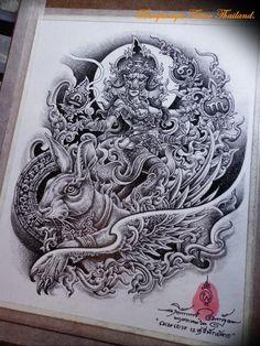 Dragon Tattoo Full Back, Thailand Tattoo, Buddha Tattoos, Thai Style, Mandala, Drawings, Tatoo, Drawing Drawing, Thai Tattoo